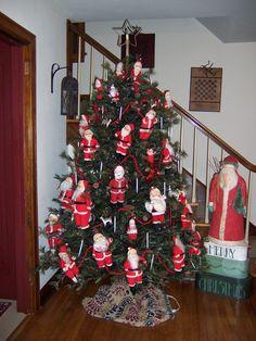 Santa dolls on tree from 12 Foot Christmas Tree, Christmas 2019, All Things Christmas, Christmas Holidays, Christmas Gifts, Christmas Decorations, Xmas, Holiday Decor, Vintage Santas