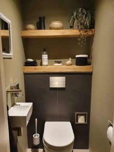Toilet Room Decor, Small Toilet Room, Guest Toilet, Downstairs Toilet, Bathroom Design Small, Bathroom Interior Design, Modern Bathroom, Small Toilet Design, Bathroom Inspo