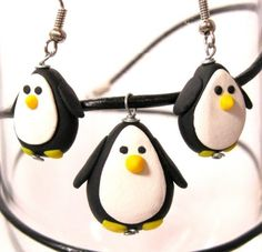 SALE Penguin Earrings Necklace Set by GlossyRegalia on Etsy, $15.00
