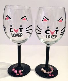 Cat Lover's Goblet  Wine Glass  Hand Painted by FoxnFeline on Etsy