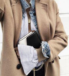 Pardessus camel + veste en jean + gilet camel + chemise rayée = le bon mix (photo Audrey Lombard)
