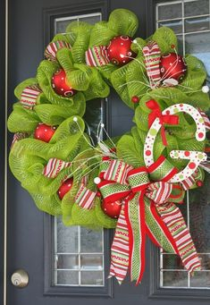 2013 Cute Christmas Deco Mesh Wreath, Christmas Ball Ornaments Deco Wreath, Best Christmas Door Decor Ideas