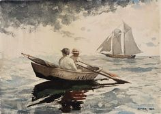 """Two Boys Rowing, Gloucester"", Winslow Homer, 1880, Watercolor over pencil on paper, 9 7/8 x 14"", The Museum of Fine Arts, Boston."