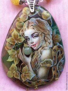 Купить В садах Эдема....(колье) - оливковый, лаковая миниатюра, живопись маслом, роспись по камню