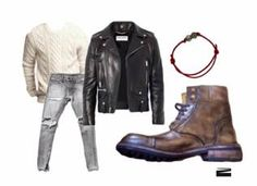 s.Valentine's date at the cinema perfect outfit:  Leather Jacket – YSL Sweater – H&M Jeans – Los Angeles Union Bracelet – Paolo Penko Bikerboot – Nico Nerini Collection