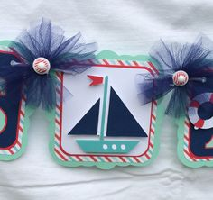 Nautical baby shower banner, sailboat banner, its a boy banner, blue, teal and red Felt Decorations, Baby Shower Decorations, Turtle Decorations, Baby Turtles, Turtle Baby, Its A Girl Banner, Picture Banner, Party Banners, Nautical Baby