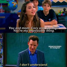 No but you don't understand. This was perfect. Because Cory NEVER thought he and Topanga were impossible. Even when everyone else did, Cory held on. That's why he doesn't see what Riley means.