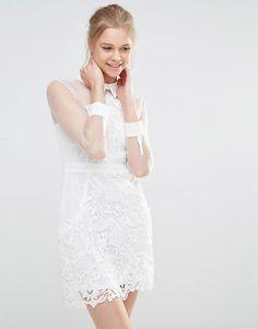 Image 1 ofEndless Rose Sheer Lace Shirt Dress