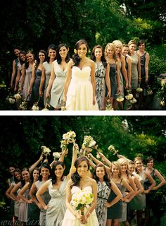 I like this better than everyone side by side.   Gives the photo more depth and the bride even more attention.