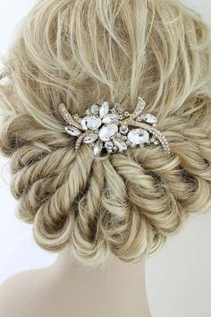 Bridal Hair Piece Bride Hair Accessory Gold by BestForBrides Vintage Wedding Hair, Wedding Hair Clips, Bridal Hair Pins, Wedding Hair Pieces, Gold Wedding, Bridal Comb, Vintage Bridal, Estilo Disney, Gold Hair Accessories