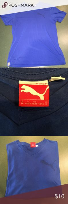 PUMA Tee Size Medium V Neck Blue Puma Tee Perfect Condition! Men's Medium.  Bundle and Save! Pet & Smoke Free Home Always! Thanks for looking, liking, and sharing. Offers welcome! Puma Shirts Tees - Short Sleeve