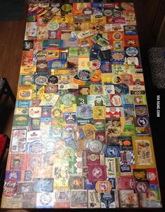 Sticking different craft beer labels to a table for over a year.