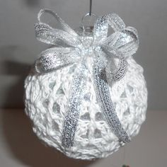 Victorian Crochet Christmas Ornament, White and Silver