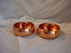 Vtg Coppercraft Guild Candlesticks Floral Centerpieces Lot of 2  Copper Vase