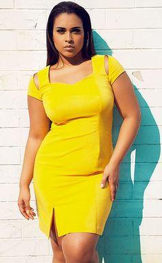 d52aad18aa8 Beautiful Yellow Dress - Plus Size Model Natalie Monet