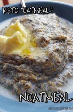 """Hot, creamy, low carb breakfast cereal reminiscent of traditional oatmeal - let's call it """"noatmeal!"""" Avoid brown sugar Splenda and peanut butter suggestions to stay keto Ketogenic Recipes, Low Carb Recipes, Diet Recipes, Cooking Recipes, Keto Chia Seed Recipes, Flaxseed Meal Recipes, Radish Recipes, Zoodle Recipes, Spiralizer Recipes"""