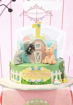 Amazing cake at a Charlotte's Web birthday party! See more party planning ideas at CatchMyParty.com!