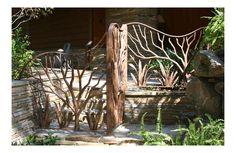 Bella Ironworks -- Gates by Jill Turman – artist blacksmith Window Bars, Entry Gates, Outdoor Living, Outdoor Decor, Cabins In The Woods, Garden Gates, Exterior Doors, Yard Landscaping, Yard Art