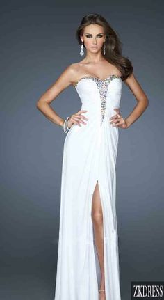White Bedazzled Strapless Gown