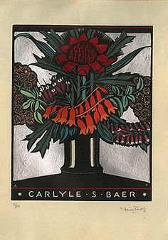 Adrian FEINT bookplate for Carlyle S Baer. (1931)