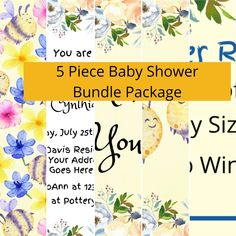 Baby Shower Bundled Package - 5 Piece Set - Baby Shower Invite - Nursery Wall Art - Digital Paper Pattern - Thank You Card - Diaper Raffle Baby Wall Art, Nursery Wall Art, Girl Nursery, Custom Baby Shower Invitations, Personalized Invitations, Flower Hair Bows, Childrens Wall Art, Diaper Raffle, Pattern Paper