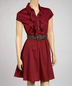 Take a look at this Burgundy Belted Dress by Bailey Blue on #zulily today!