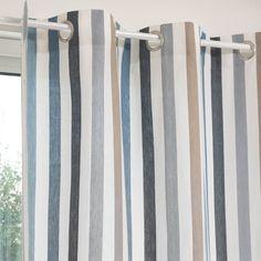 Rideau illets rayures en coton 140 x 250 rayures - Rideau style bord de mer ...