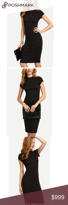 ..BLACK CREW NECK SHEATH DRESS Simple. Lbd. Pencil style. Polyester blend. Stretchy fabric. Figure flattering. Short sleeves. -No trades. 51Twenty Dresses