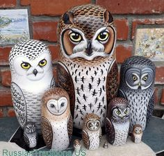 Owls of North America on the Set of Ten Russian Nesting Dolls.