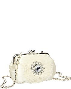 CRYSTAL AND TULLE DETAIL CLUTCH CREAM