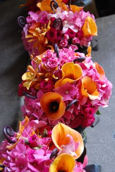hot pink and orange wedding bouquets