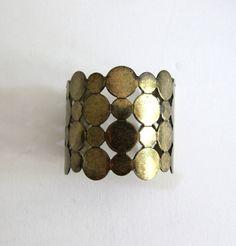 Cool retro Vintage 1980s brass rounds brass cuff bracelet bangle