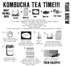 Tips for making kombucha . Kombucha tea (KT): Recipe – How to – Ideas – Probiotic – SCOBY Kombucha Recipe, Kombucha Tea, Kombucha Flavors, Kombucha How To Make, Making Kombucha, Juice Smoothie, Smoothies, Water Kefir, Fermented Foods