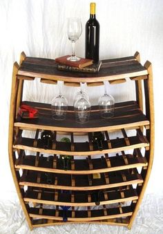 Wine rack made from wine barrel staves