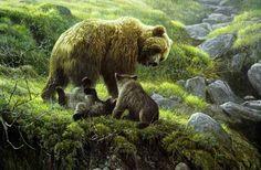Robert Bateman Grizzly Bear and Cubs Bear Paintings, Wildlife Paintings, Nature Paintings, Wildlife Art, Original Paintings, Print Artist, Artist Painting, Bear Art, Batman