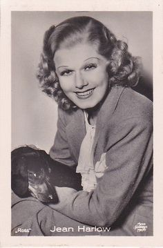 """JEAN HARLOW -1930s with her dachshund """"ROSS"""" Photocard 