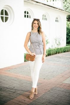 Striped Bow Top With