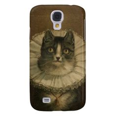 "Antique Victorian kitty cat gothic fine art painting, c. 1861, ""The Widow"" hangs at the Boston Public Library - sweet Elizabethean collared goth royal kitten steampunk oddities print Samsung Galaxy S4 case cover."