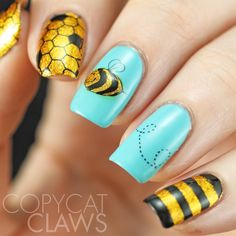 Copycat Claws: The Digit-al Dozen does New & Improved/40 Great Nail Art Ideas Things That Fly - Advanced Stamping Bees