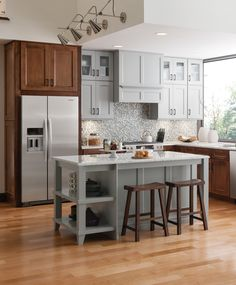 Unique combination of stain and a sheer color-washed stain make a beautiful custom kitchen design! http://www.medallionatmenards.com?utm_source=pinterest&utm_medium=social&utm_campaign=creativekitchens&utm_content=emerson&cm_mmc=pinterest-_-social-_-creativekitchens-_-emerson