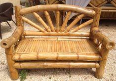 mobilier en bambou | en bambou banc en bambou sun réalisé dans une variété de bambou ... Bamboo Sofa, Bamboo Art, Bamboo Crafts, Bamboo Furniture, Log Furniture, Handmade Furniture, Bamboo House Design, Bamboo Building, Diy Garden Fountains