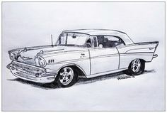 Vintage 1957 CHEVY Bel Air Realism Graphite by MySalvagedPast