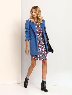 Palton Top Secret Blue - Top Secret - www. Top Secret, Blue Coats, Modern Outfits, Elegant Outfit, Go Shopping, Modern Classic, Trousers, Shirt Dress, Casual
