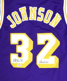 859fdb82b11 Los Angeles Lakers Magic Johnson Autographed Purple Jersey