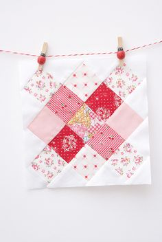 Granny Square Block - Would also work as - Checkerboard, by MessyJesse Diy Quilt, Easy Quilts, Mini Quilts, Granny Square Quilt, Sunburst Granny Square, Granny Squares, Quilt Block Patterns, Pattern Blocks, Quilt Blocks