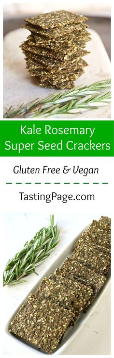 Gluten Free and Vegan Baked Kale Rosemary Super Seed Crackers | http://TastingPage.com