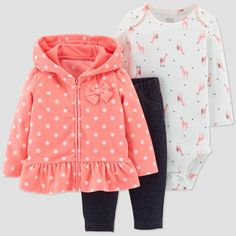Baby Girls  3pc Dot Cardigan Set - Just One You® made by carter s Coral eb94d0003