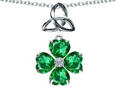 Lucky Shamrock With Celtic Knot Made With Heart 6mm Simulated Emerald Celtic Love by Kelly in .925 Sterling Silver Finejewelers, http://www.amazon.com/dp/B004D5NAFK/ref=cm_sw_r_pi_dp_18oqrb0P7WJ4X