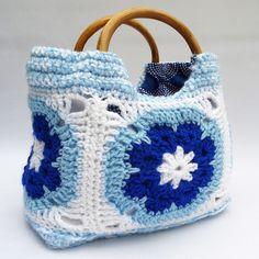 Blue and white crochet handbag | Flickr - Photo Sharing!