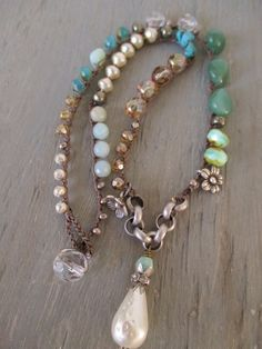 Pearl boho crochet necklace Bohemian Belle cottage country